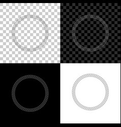 rope frame icon isolated on black white and vector image