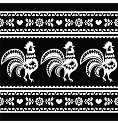 Seamless Polish monochrome folk art pattern with r vector image