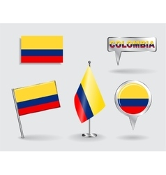 Set colombian pin icon and map pointer flags vector