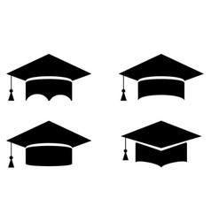 set graduation student cap vector image
