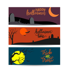 set halloween horizontal banners design the vector image