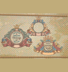 set vintage emblems and cartouches vector image