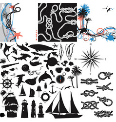 set with nautical themes for design vector image