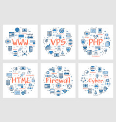 six business banners - www php html firewall vector image