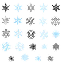 snowflake set blue and black color vector image
