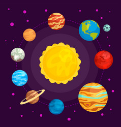 solar system in space concept background flat vector image