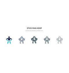 Stick man hoop icon in different style two vector