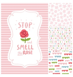 Stop and smell the rose decorations set vector