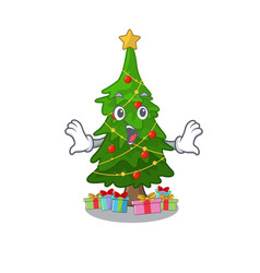 surprised christmas tree next to cartoon table vector image