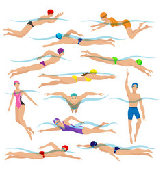 Swimming people in action poses vector