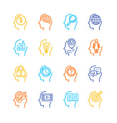 symbol human mind color thin line icon set vector image