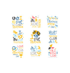 Triathlon supporters and fans club for people that vector