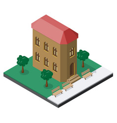 Two-story building with benches and trees in vector