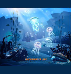 Underwater life background light poster vector