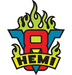 V8 Hemi engine emblem with flames vector image