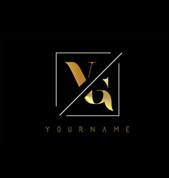 Vg golden letter logo with cutted and intersected vector
