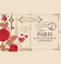 vintage postcard with eiffel tower and roses vector image