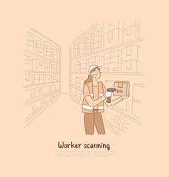 Warehouse worker scanning goods female vector