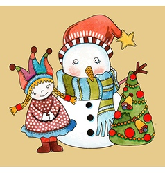 Watercolor snowman with girl and christmas tree vector