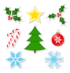winter decorations set vector image