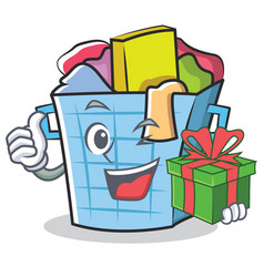 with gift laundry basket character cartoon vector image
