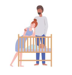Woman and man with newborn bain crib vector