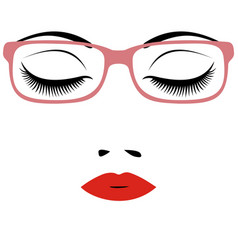 woman beautiful closed eyes with glasses vector image