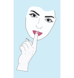 Woman face gesture of silence vector image