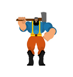 Woodcutter isolated lumberjack with an ax strong vector