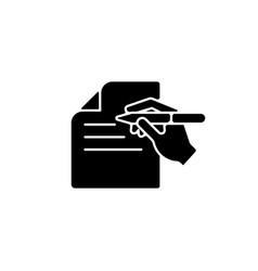 Written communication black glyph icon vector