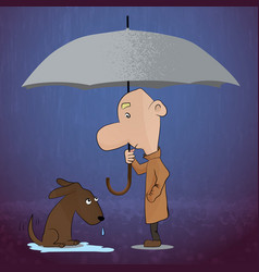 Young man walking and found a dog in the rain vector