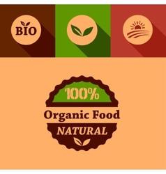 flat organic food design elements vector image vector image