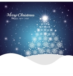 greeting merry christmas happy new year tree vector image
