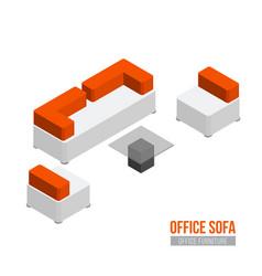 isometric sofa armchair and coffee table vector image