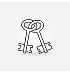 Old keys outline icon vector image vector image