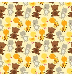 Seamless pattern with baby cat bear fox and duck vector image vector image