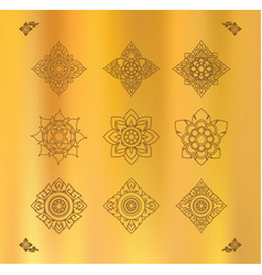set of thai art design on gold cloth vector image vector image