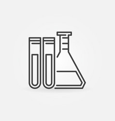 test tubes with flask icon vector image
