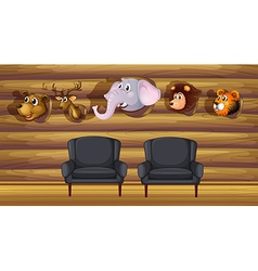 A living room with stuffed head decorations vector image vector image