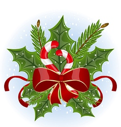 Christmas holly berry branches and bow isolated - vector image