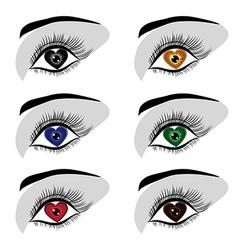 eye heart set vector image vector image