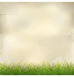 Green Grass on Plaster Wall Abstract Background vector image vector image