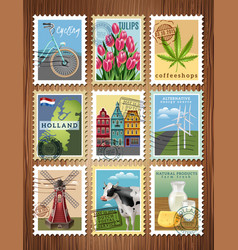 holland travel stamps set poster vector image vector image