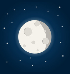 moon with stars on the night sky vector image