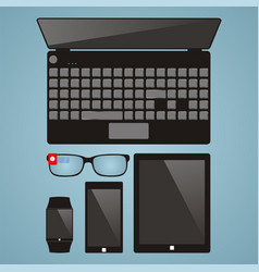 set of multimedia devices laptop smart glasses vector image vector image