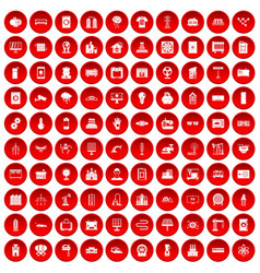 100 electrical engineering icons set red vector