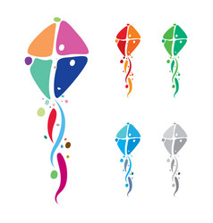 colorful kites emblem design vector image vector image