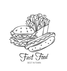 Fast food hand drawn banner vector image