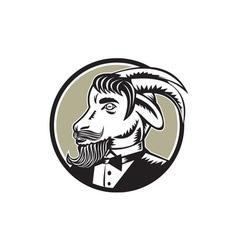 Goat Beard Tuxedo Circle Woodcut vector image vector image