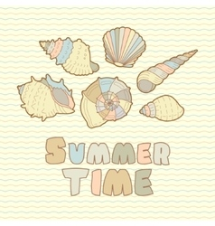 Sea shells icon set with text vector image